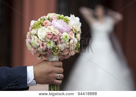 Groom With Bunch Of Flowers