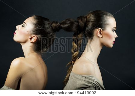 Undressed Women With Hairdo