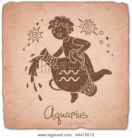 Aquarius zodiac sign horoscope vintage card.