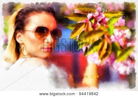 Pc Watercolor Illustration Of A Beautiful Woman And Flower With Sun Glasses.
