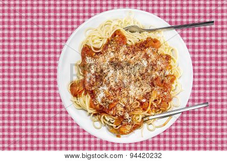 Spaghetti With Tomatoe Sauce And Cheese