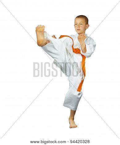 With orange belt boy beats kick mae-geri