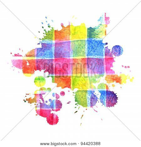 Colorful Watercolor Stain For Design