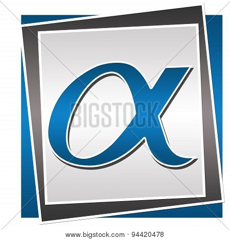 Alpha Symbol Over Blue Grey Background
