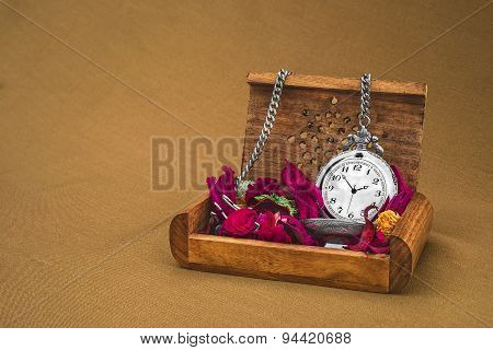Antique Clock With Red Petals