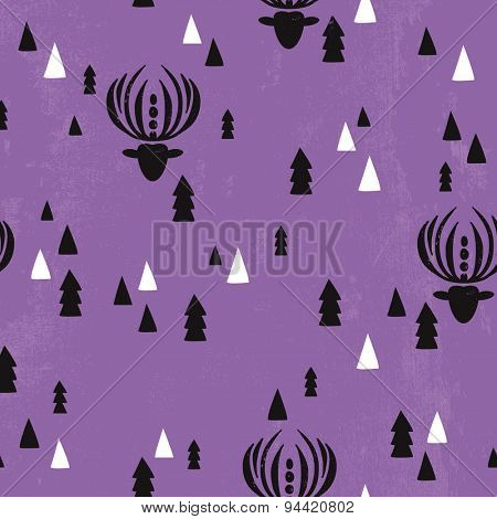 Seamless violet christmas theme reindeer christmas tree and geometric details background pattern in vector