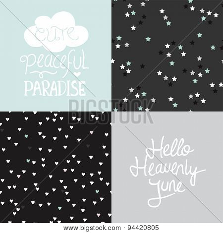 Peaceful paradise and hello heaven june postcard cover design with seamless stars and hearts background pattern in vector