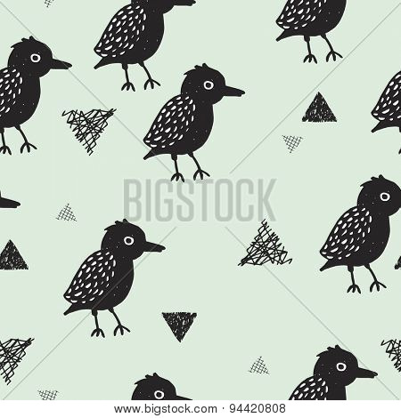 Seamless blackbird crow illustration kids background pattern in vector