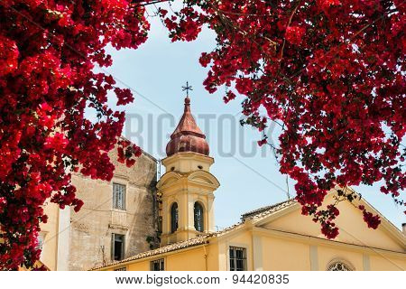 Old greek church in flowers bougainvillea