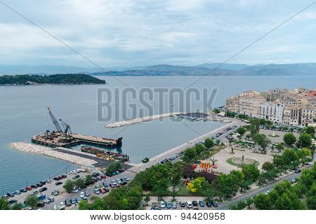 Aerial view to pier with ships, Kerkyra