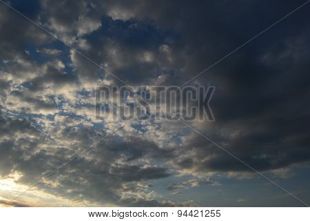Clouds In The Blue Sky During The Summer In The Morning Dawn