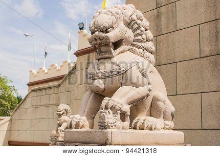 Buddhist Lions Sculpture.