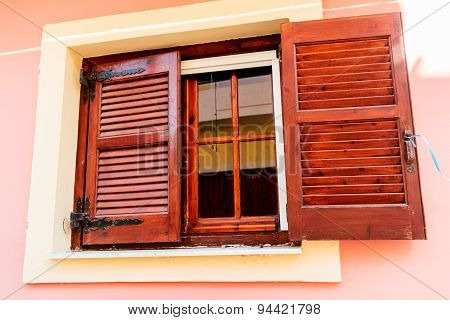 window of Greek traditional house