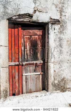 Old door of Greek traditional house