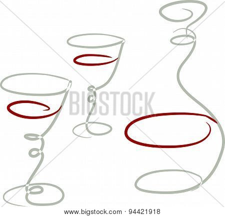 Vector Sketch Of A Carafe And Two Glasses Of Wine.