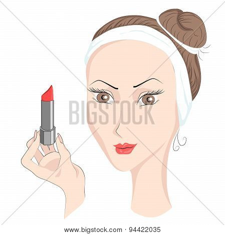 Girl with make up lipstik