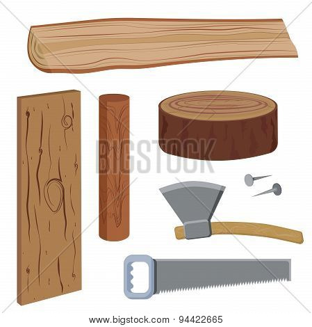 Set wood and tools