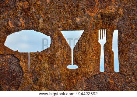 Rusty Oxidated Restaurant Sign