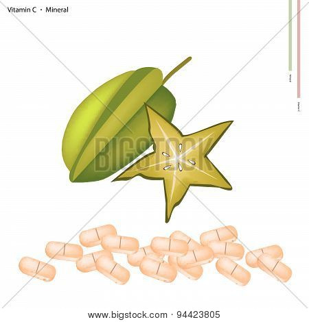 Ripe Carambolas With Vitamin C On White Background
