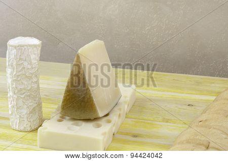 Spanish Manchego Cheese, Goat Cheese And Gruyere,