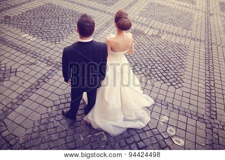 Back Of Bride And Groom