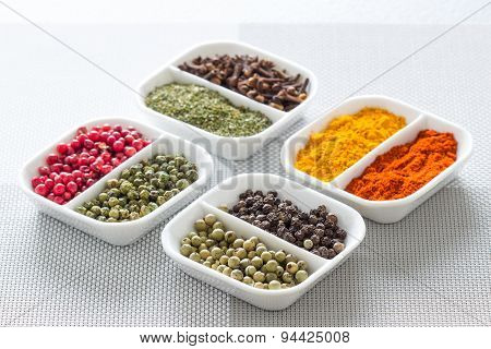 Colorful Herbs,spices And Aromatic Ingredients On Modern Table.