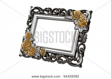 Silver carved picture frame with rose decor, clipping path included.