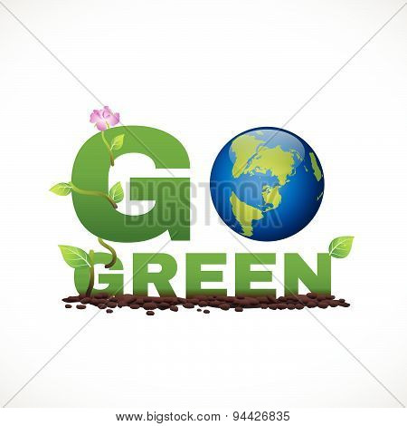 Go green banner logo design is have earth leaf and flower tree