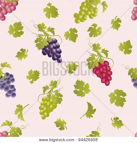 Vector Repeating Pattern With Grape Clusters.