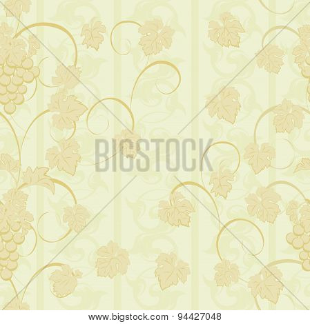 Seamless Pattern With Grape Clusters And Leaves.