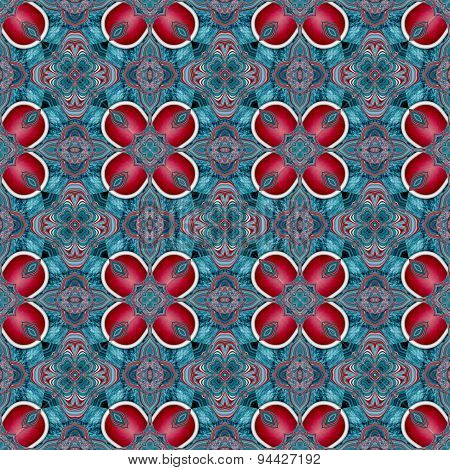 Seamless Kaleidoscopic Pattern In Red And Blue 2