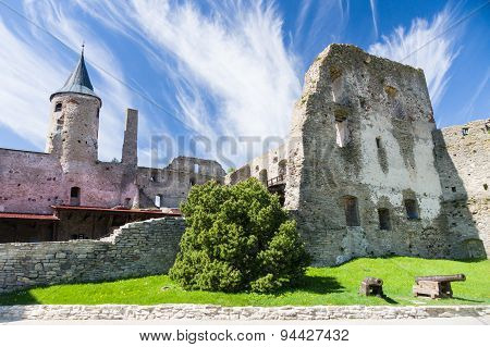 Ruins Of Haapsalu Episcopal Castle And Cannons In Front, Estonia
