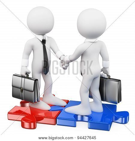 3D White People. Businessmen On Puzzle Pieces Closing A Deal