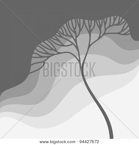 Illustration with stylized tree in gradation of gray colors