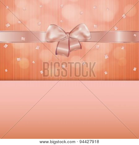 Invitation Card Or Gift With Ribbon And Confetti
