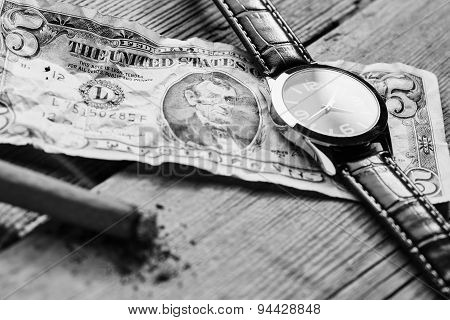 Dollar, Watch And Cigar