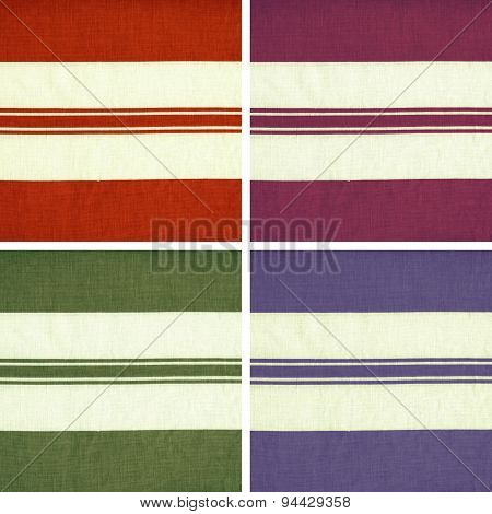 Collection of colorful striped woven fabric texture