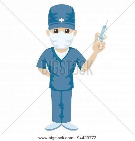 Medic with syringe in his hand.
