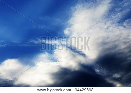 Dark Blue Sky With Clouds,