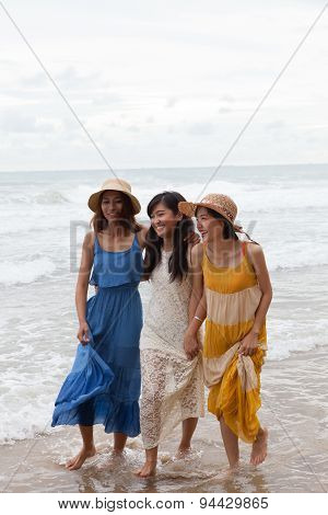 Portrait Of Young Asian Woman With Happiness Emotion Wearing Beautiful Dress Walking On Sea Beach An