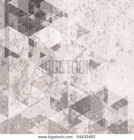 Grunge retro tech background. Triangles pattern. Vector design