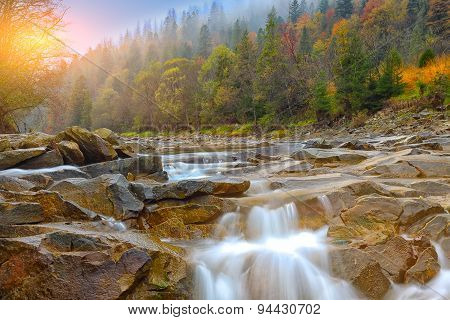 Mountain River In Autumn At Sunrise