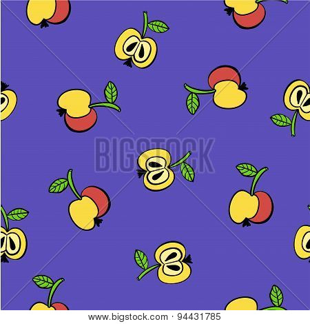 Doodle pattern of yellow and red apples vector illustration