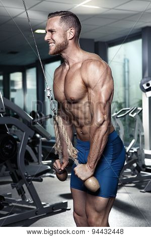 Muscular Bodybuilder Guy Doing Triceps Exercises