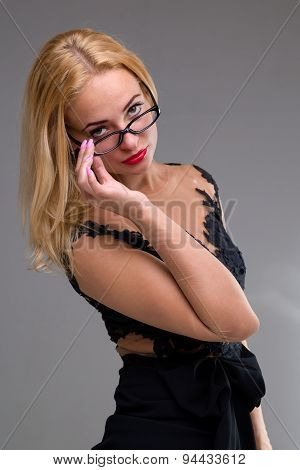 sexy confident young woman in glasses portrait