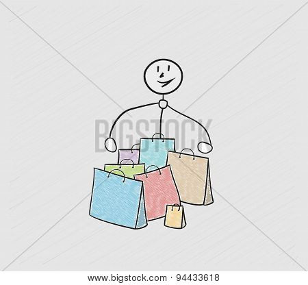 Few Bags For Shopping And Person