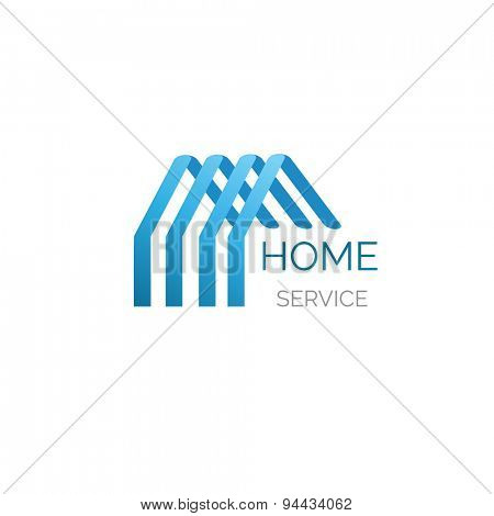 Blue house logo for your company. Good for home service, cleaning, inshurance and other buisiness
