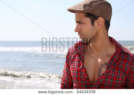handsome man wearing a beret