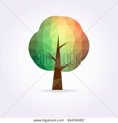 Low poly green and yellow tree icon . Modern illustration.