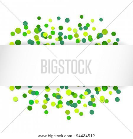 Holiday illustration: Glittering confetti green celebration background